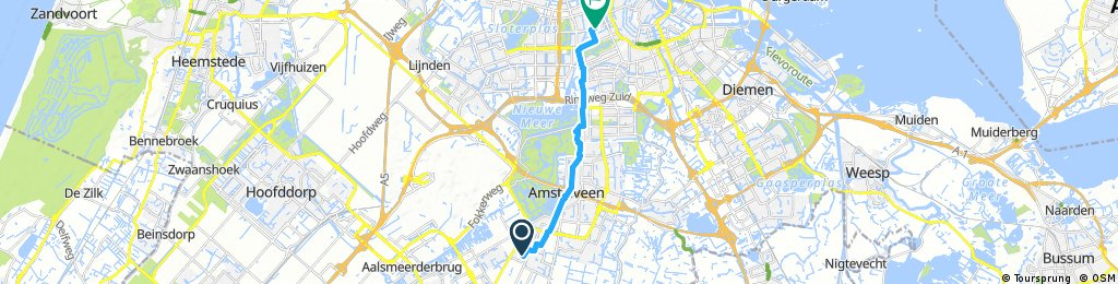 ride from Amstelveen to Amsterdam