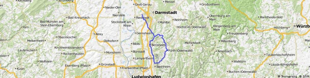 Griesheim durch Odenwald nach Weinheim über Bergstr zurück