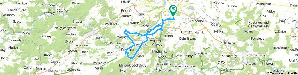 Lengthy bike tour from Pastviny to Prague