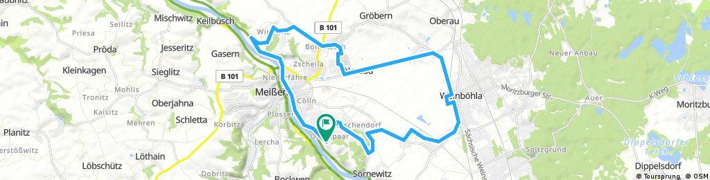 Meißen - Winkwitz - Niederau - Neu-Sörnewitz - Spaargebirge
