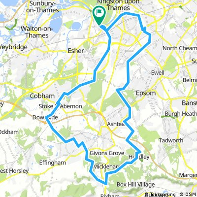 Thames Ditton to Box Hill Off road (some of it)
