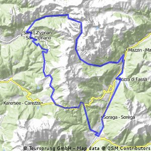 Cycling routes and bike maps in and around Pozza di Fassa Bikemap