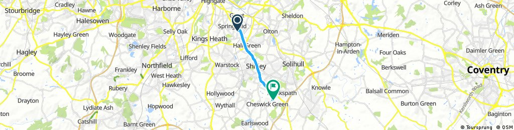 Brief ride from Birmingham to Cheswick Green