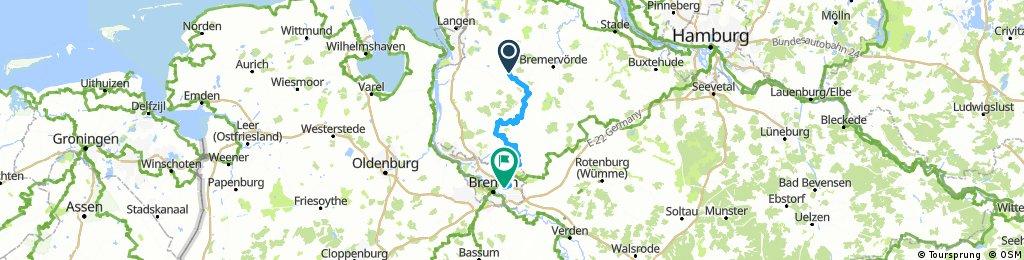 Lange Ausfahrt von Beverstedt nach Bremen