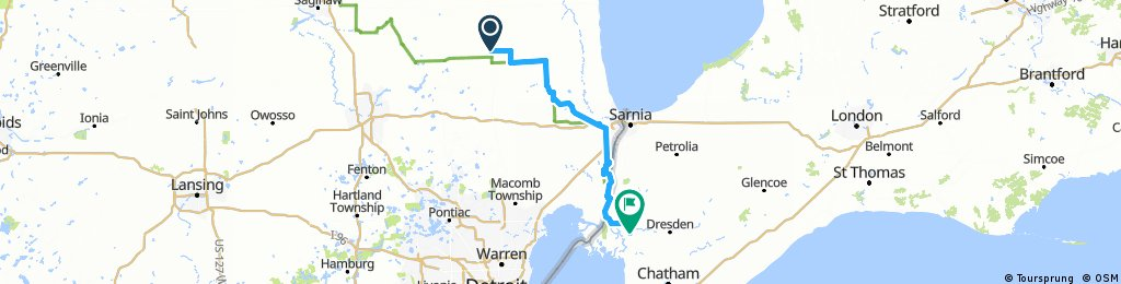 Lengthy ride from Marlette, MI to Wallace burg, Ontario
