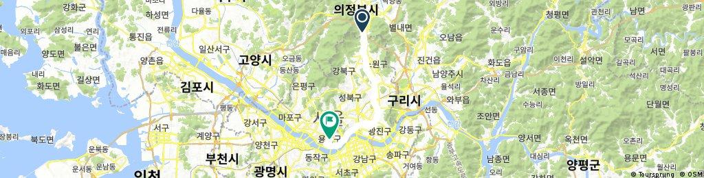 Long bike tour from Yijeongbusi to Yongsan-gu