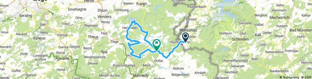 Kalterherberg - Botrange - Gileppe - Hokai - Botrange - Kalterherberg