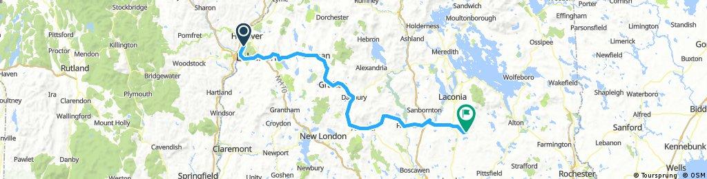 Lengthy bike tour from Lebanon to Gilmanton, NH