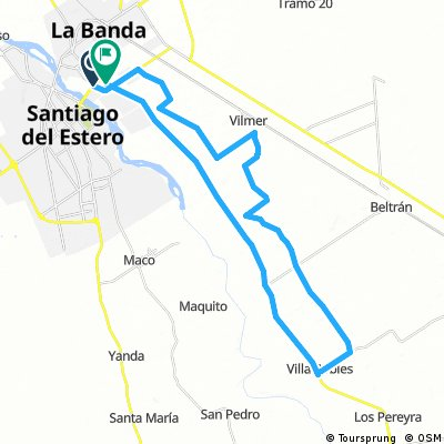 Long bike tour from Pastviny to Los Arias, villa robles