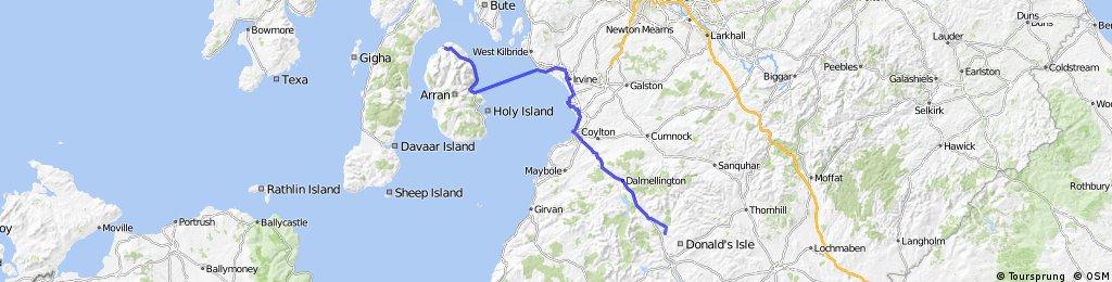 LEJOG Day 10 - Kendoon YH to Lochranza YH (via Ardrossen - Broddick ferry)