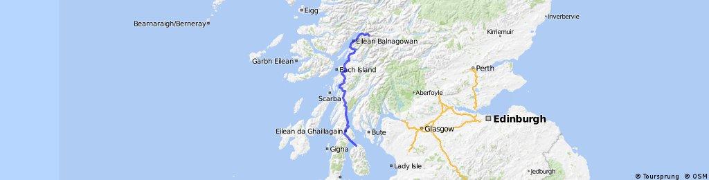 LEJOG Day 11 - Lochranza YH to Glencoe YH (via Lochranza - Claonaig ferry)