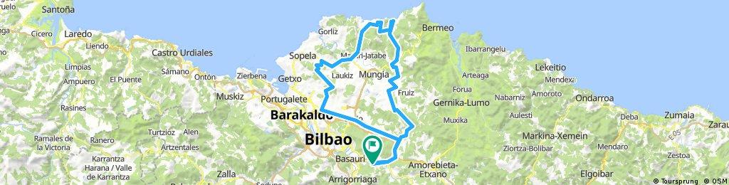 Galdakao, Bakio, JATA, Urduliz, UMBE, Asua, Galdakao. 89.02 km