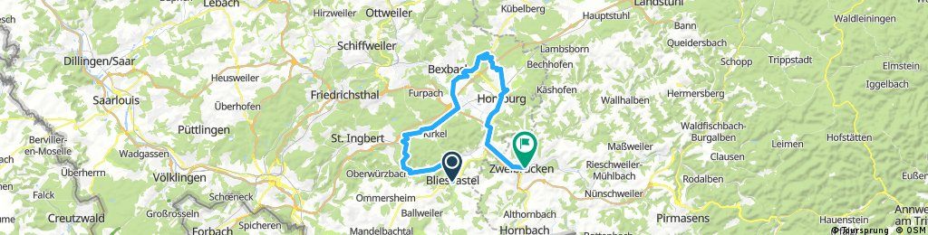 Lange Ausfahrt von Blieskastel nach Zweibrücken