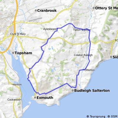 A nice gentle circular ride taking in Woodbury, Tipton St John, Otterton and Exmouth
