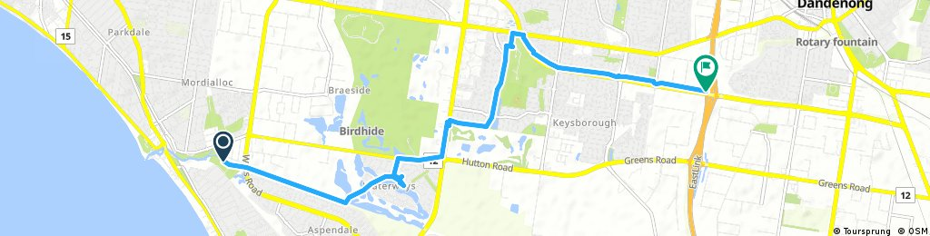 ride from Aspendale to Keysborough