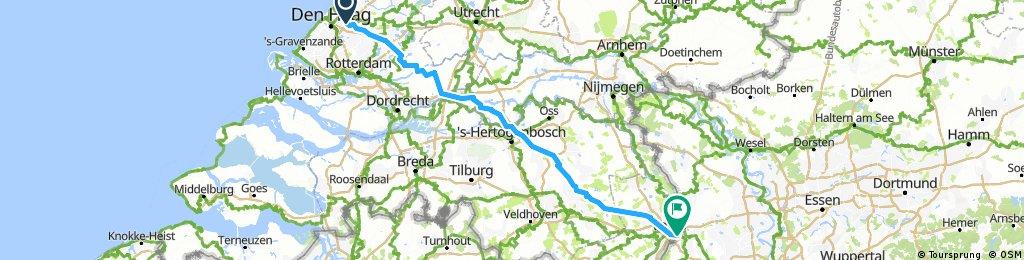 Deel 01 Ldam - Wenen: Route van Leidschendam naar Venlo (Bikemap) 20160904