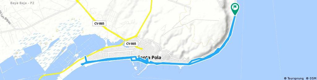 Standplatz Santa Pola Ost- Salinen- Hafen und zurück