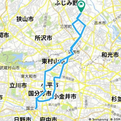 Lalaport富士見 to JR国立駅  56.82km