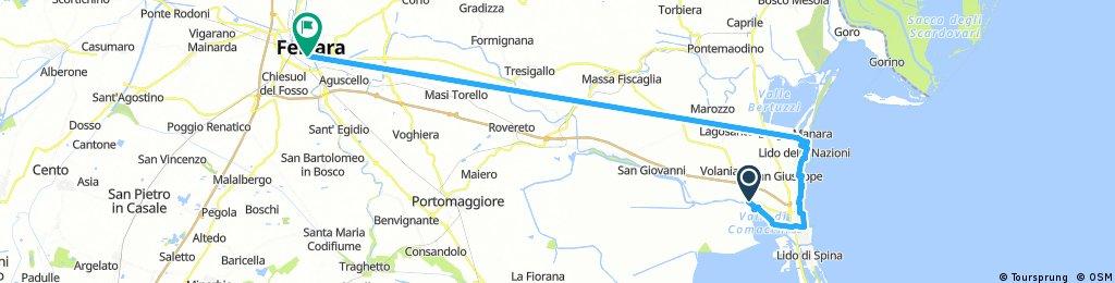 Long bike tour from Comacchio to Ferrara