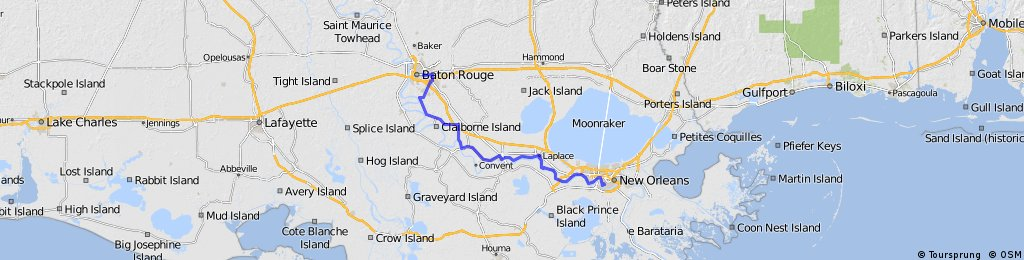 Baton Rouge to New Orleans (Nicholson Route) | Bikemap ...