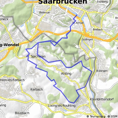 Cycling routes and bike maps in and around Saarbrcken Bikemap