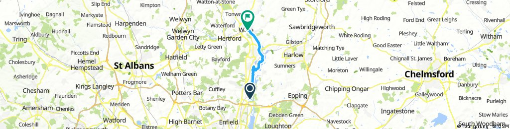 bike tour from Waltham Cross to Ware