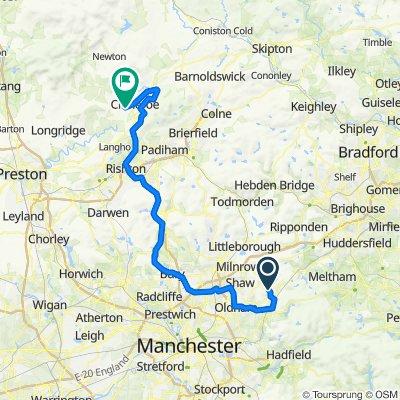 Saddleworth to Oldham, Royton, Clitheroe and Downham
