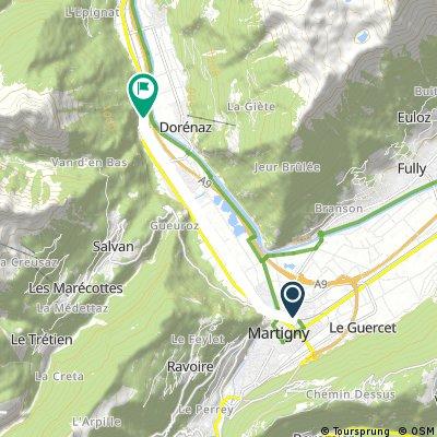 Short bike tour from Martigny to Vernayaz