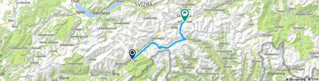 Fiesch to Andermartt 83.5K 50M 6K'
