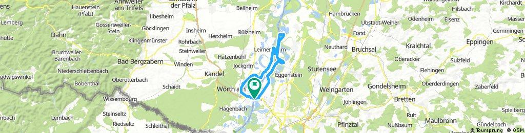 Rundkurs 1 / KA-Maxau-Insel Rott-Leimersheim (Pamina Radweg)-Wörth-Maxau