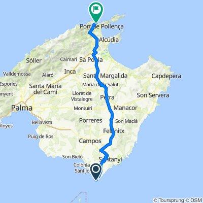 Mallorca: de sud a nord, cap de ses Salines-cala Sant Vicenç