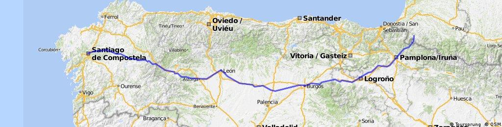 Camino de santiago 2009 bikemap your bike routes - St jean pied de port to santiago distance ...