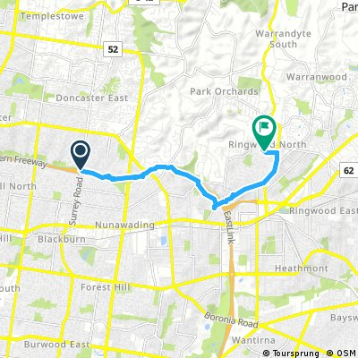 ride from Blackburn North to Ringwood North