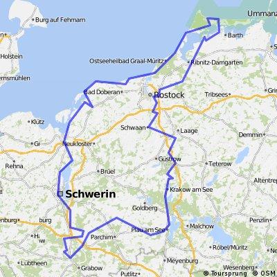 Neustadt Glewe-Schwerin-Wismar-Rostock-Schwaan-Güstrow-Krakow an See-Karow-Neustadt Glewe