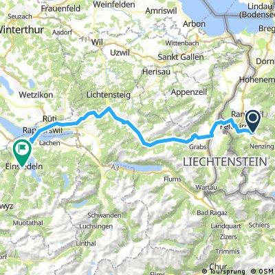 Satteins - Feldkirch - Unterwasser - Wattwill - Rapperswill - Einsiedeln