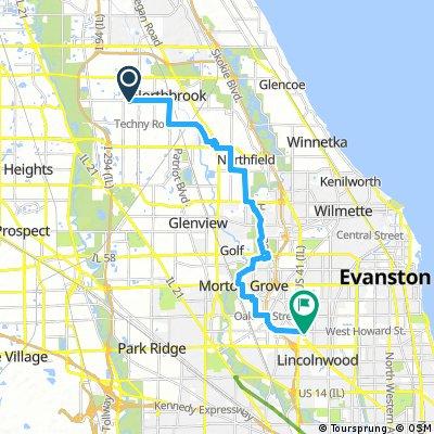 bike tour from Northbrook to Skokie