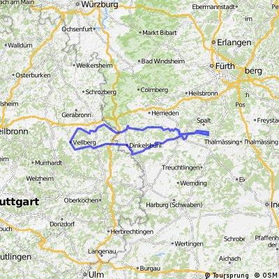 Dinkelsbühl-Hesselberg-Brombachsee und zurück