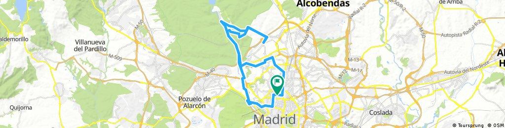 Long bike tour through Madrid