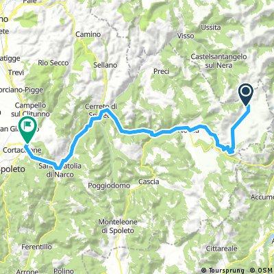 2 (2)Etappe Orginal weiter, wenn Strasse nach Norcia offen ist. Castelluccio Norcia und weiter nach Spoleto