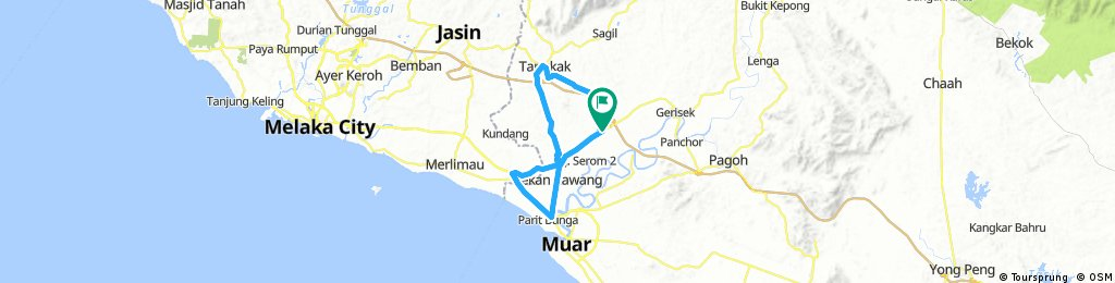 Lengthy bike tour through Bandar Serom