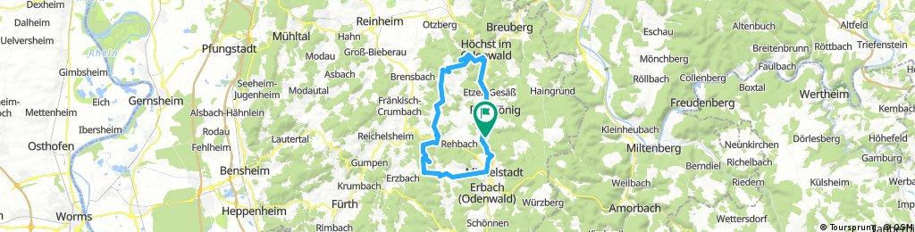 Zell - Pfirschbach - Hummetroth - Hohe Str. - Ober-Mossau - Waldhorn - Steinbach - Zell