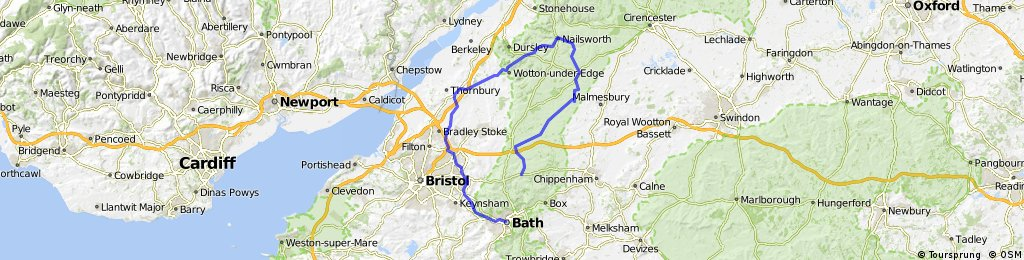 60miles from home to Bath