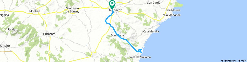 Mallorca: Manacor-cala Bota-cala Virgili-Manacor