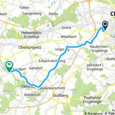 Ausfahrt von Chemnitz nach Lichtenstein