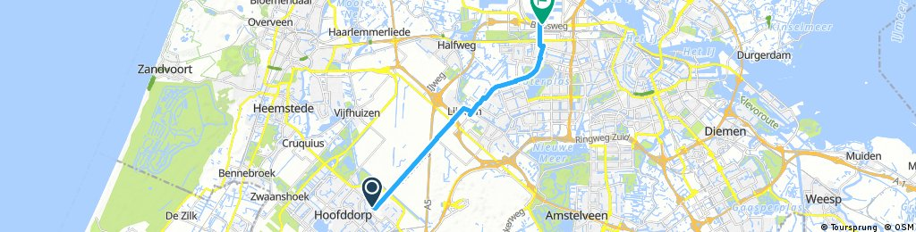 ride from Hoofddorp to Amsterdam
