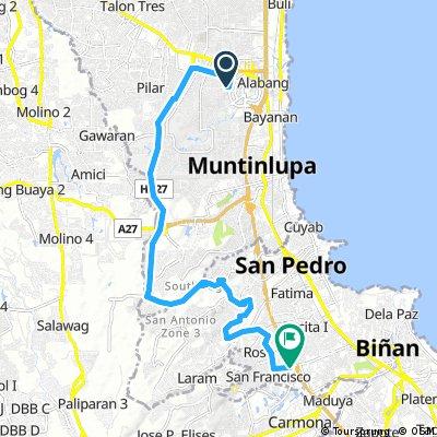 Filinvest Trails Alabang Muntinlupa City - Southwoods Biñan via Daang Hari and Daang Reyna.