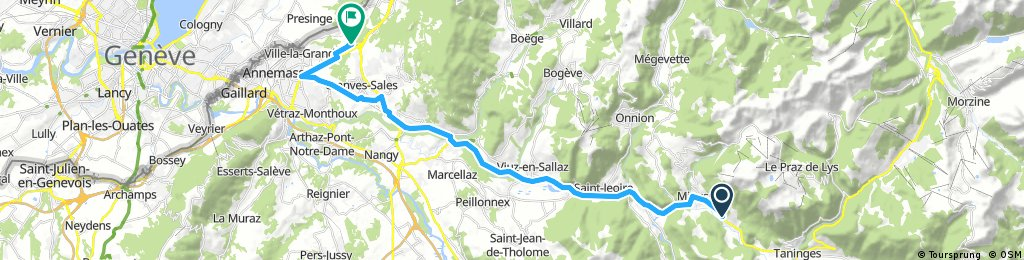 Lengthy ride from Mieussy to Ville-la-Grand