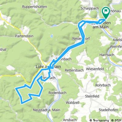 Gemünden - Wombach - Forsthaus Aurora - Neustädter Tor - Lohr - Gemünden