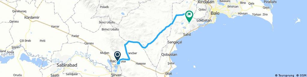 Haciqabul - Qizildas ca 105 km