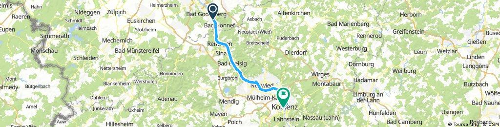 Lange Radrunde von Bonn nach Coblença